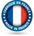 Made in France blue label with flag vector image vector image