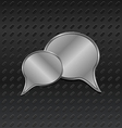 shiny metallic speech bubbles on aluminum backgrou vector image vector image