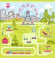 amusement park attractions flat plan vector image
