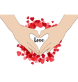 hand make heart shape Happy Valentines Day vector image