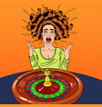 stressed woman behind roulette table vector image
