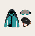 set of clothing for sport in winter vector image