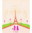 beautiful girls Shopping in Paris vector image