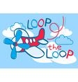 A cute plane flying loop the loop in the sky vector image