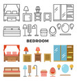 bedroom furniture and accessories collection - vector image