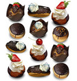 delicious cakes pattern realistic muffin vector image