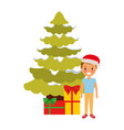 happy kid wearing christmas hat with tree and vector image