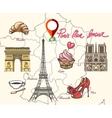 Paris France symbols vector image