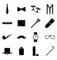 set of black icons of man accessories vector image