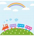 Train and rainbow vector image