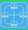 Blockchain laptop bitcon vector image