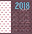 2018 printable calendar starts sunday vector image