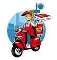 girl as a pizza delivery service ride a scooter vector image vector image