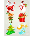 set santa claus and friends vector image