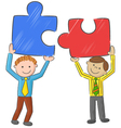Businessmen holding up empty puzzles vector image