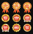 set of excellent quality red badges with gold vector image