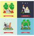 set of wedding posters in flat style vector image