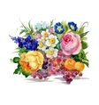 summer flowers and ripe fruits watercolor vector image