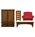 A closet drawer table and couch vector image