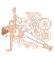 women silhouette extended side plank yoga pose vector image