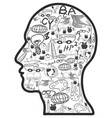 doodle education icons in head vector image vector image