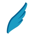 Blue simple wing icon isometric 3d style vector image
