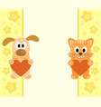 background with funny cartoon dog and cat vector image