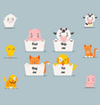 cute little beggar animals help cat dog pig cow vector image