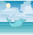 dolphin sea animal beautiful landscape vector image