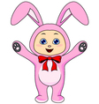 cute baby in rabbit costume vector image