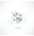 Animals footprint grunge icon vector image vector image
