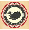 Vintage label-sticker cards of Iceland vector image