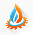 symbol fire with gear Blue and orange flame glass vector image