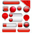 Red high-detailed modern buttons vector image