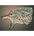 Patterned head of the wolf Tribal ethnic totem vector image vector image