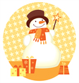 snowman and gift box template for christmas design vector image