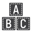 abc blocks solid icon alphabet cubes education vector image
