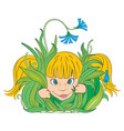girl in the grass vector image