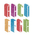 Retro style 3d thin tall condensed font with hand vector image