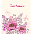 Floral background with pink poppy vector image