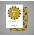 Golden Wedding Invitation With Black Flowers vector image