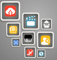 Web media icons in square blocks vector image vector image