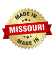 made in Missouri gold badge with red ribbon vector image