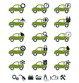 Car mechanic service and repair icons green set vector image