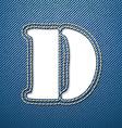 Denim jeans letter D vector image