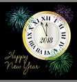 happy new year clock with fireworks vector image