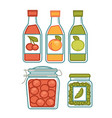 juice in bottles and preserves in jars poster vector image