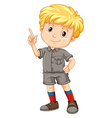 Little boy pointing his finger up vector image