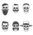 Set of the skulls with hairstyle and hats Design vector image
