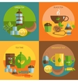 Tea time 4 flat icons square composition vector image